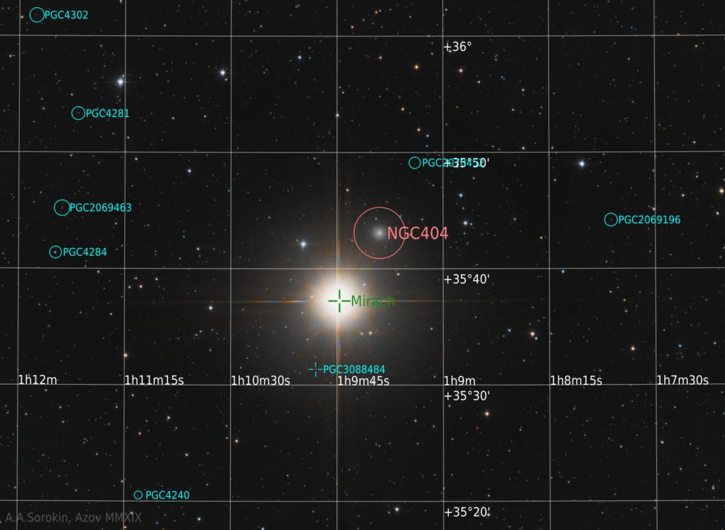 NGC 404 с обозначениями